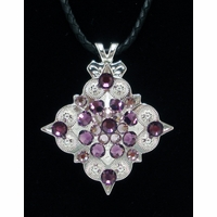 Amythyst Rhinestone Crystal Diamond Shape Concho Necklace
