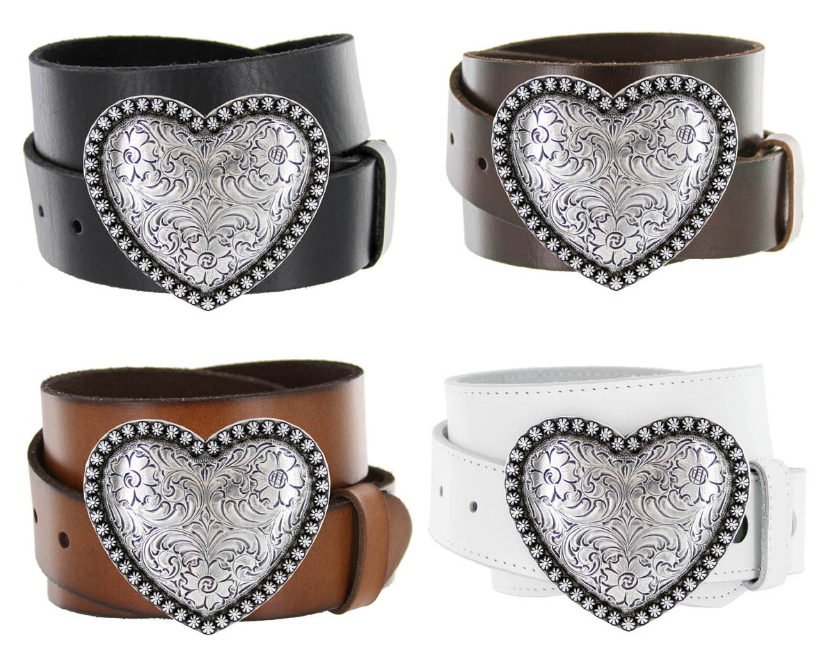 Antique Silver Berry Heart Buckle Leather Belt 1 1 2 Quot Wide