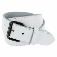 "Arctic White Genuine Leather White belt with roller buckle 1-1/2"" Wide"