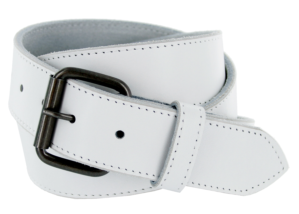 arctic white genuine leather white belt with roller buckle