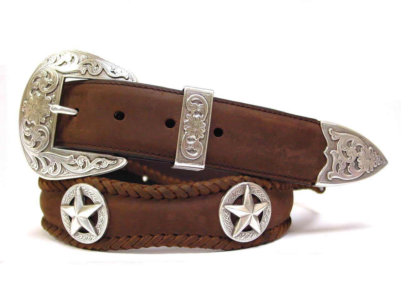 Austin Texas Stars Conchos Western Leather Belt