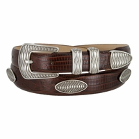 Aztec Men's Italian Leather Concho Belt