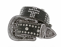 "B532 Western Cowgirl Rhinestone Leather Belt 1-1/2"" wide"