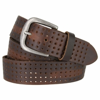 "BA29034 Perforated Leather Belt With Antique Silver Buckle 1.5"" Wide (Brown)"