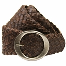 "Basketweave Brown 2.5"" Wide Tapered 2"" Belt"