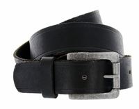 "Baxter Full Grain Vintage Black Leather Belt with Solid Roller Buckle 1-1/2"" Wide"