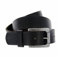"Deal of Today $ 19.95 Baxter Full Grain Vintage Black Leather Belt with Solid Roller Buckle 1-1/2"" Wide"