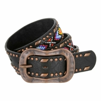 Beaded Vintage Studded Leather Belt