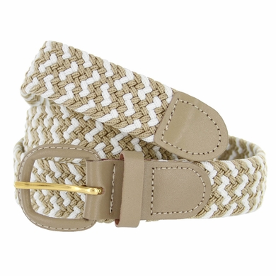 """Beige/White Leather Covered Buckle Woven Elastic Stretch Belt 1-1/4"""" Wide"""