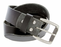 "Cooper Men's One Piece Full Grain Leather Casual Jean Belt 1-1/2"" wide - Black"