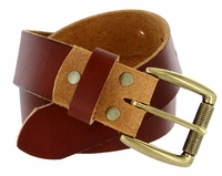 "Cooper Men's One Piece Full Grain Leather Casual Jean Belt 1-1/2"" wide - Tan"