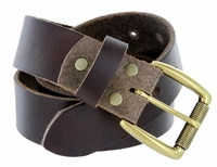 "Cooper Men's One Piece Full Grain Leather Casual Jean Belt 1-1/2"" wide - Brown"