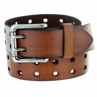 "Ben Two Holes Vintage Full Leather Casual Jean Belt 1-1/2"" (38mm) Brown"
