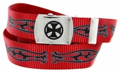 BF2207 Black Cross Canvas Military Web Punk Belt 1.25 inch wide - Red