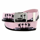 BF50090 Palm trees Canvas Military Web Punk Belt 1.25 inch wide - Pink