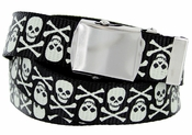 BF6273 Black Canvas Military Web Punk Belt 1.25 inch wide White Skull
