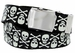 BF6273 Black Canvas Military Web Punk Belt 1. 25 inch wide White Skull