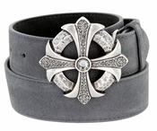 Black Crystal Rhinestone Cross Celtic Buckle Suede Leather Belt -  Gray