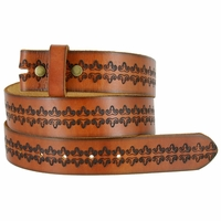 """BS042 Full Grain Tooled Leather Belt Strap 1 1/2"""" wide"""