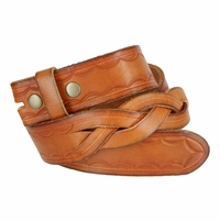 """BS058 Genuine Full Grain Leather Woven Tooled Belt Strap 1-1/2"""" Wide - Tan"""