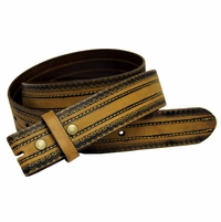 "BS1015 Tan Full Grain Tooled Leather Belt Strap 1 1/2"" wide"