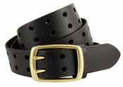 BS102 Two Holes Vintage Full Grain Leather Jean Belt $22.95-Black