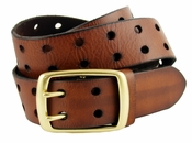 BS102 Two Holes Vintage Full Grain Leather Jean Belt $22.95-Brown