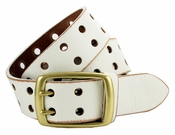 BS102 Two Holes Vintage Full Grain Leather Jean Belt $22.95-White