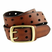 BS102 Two Holes Vintage Full Grain Leather Jean Belt Brown