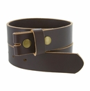 """BS105032 One Piece Full Genuine Leather Belt Strap 1-1/4"""" (32mm) Wide-Brown"""