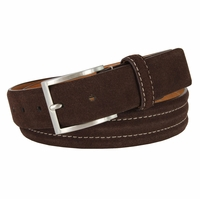 "BS110 Men's Genuine Suede Casual Dress Leather Belt 1-3/8"" (35mm) Wide - Brown"