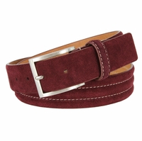 "BS110 Men's Genuine Suede Casual Dress Leather Belt 1-3/8"" (35mm) Wide - Burgundy"