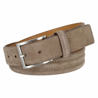 "BS110 Men's Genuine Suede Casual Dress Leather Belt 1-3/8"" (35mm) Wide - Taupe"