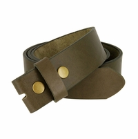 "BS1800 One Piece Genuine Full Grain Leather Belt Strap 1-1/2"" Wide - Olive"