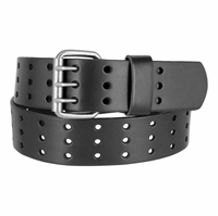 "BS200 Three Hole Genuine Leather Casual Jean Belt - Black 1-3/4"" wide"