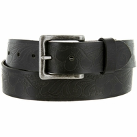"Deal of Today BS423-4105 Full Grain Floral Embossed Casual Leather Jean Belt 1. 5"" Wide"