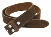 "BS66 Brown Suede Leather Belt Strap 1 1/2"" Wide"