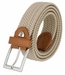 """C019/30 Italian Stretch Belt With Leather Tabs 1-1/8"""" Wide Made in Italy Naturale (Beige)"""