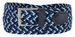 """C019/30 Italian Stretch Belt With Leather Tabs 1-1/8"""" Wide Made in Italy Navy/Sky/Blue2"""