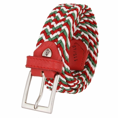 """C019/30 Italian Stretch Belt With Leather Tabs 1-1/8"""" Wide Made in Italy Red/White/Green"""