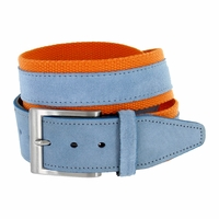 C044 Men's Italian Suede Fabric Leather Casual Belt Blue/Orange