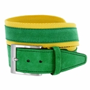 C044 Men's Italian Suede Fabric Leather Casual Belt Green/Yellow