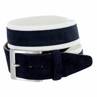 C044 Men's Italian Suede Fabric Leather Casual Belt Navy/White
