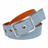 C075/40 Suede With Canvas Backing Center Buckle Belt Made In Italy - (Sky/Orange)