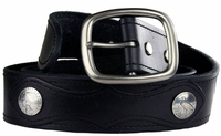 "Caleb Western Designer Vintage Genuine Leather Casual Jean Black Belt 1 1/2"" wide $35.00"