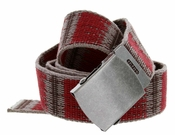 Canvas Fabric Military Web Belt 1.5 inch wide - Red/Brown