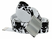 Canvas Military Web Punk Belt 1.25 inch wide Black White Skull