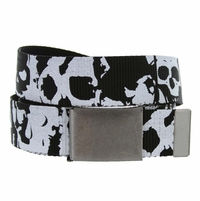 Canvas Military Web Punk Belt 1.5 inch wide Black White Skull