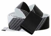 Canvas Military Web Style Belt Black Metal Buckle - White/Black