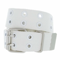 Canvas Two Holes Casual Jean Punk Belt 1.5 inch wide - White